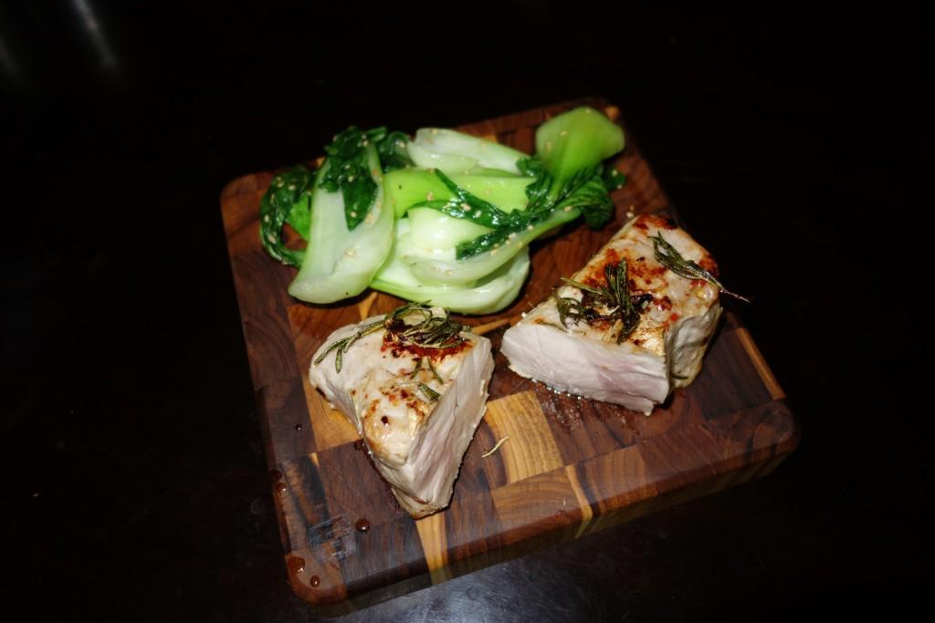 Sous Vide Pork Chop with Bok Choi