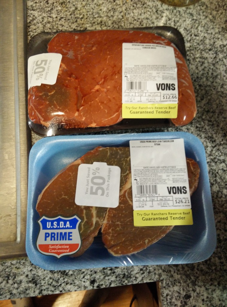 Discount Meat, packed, frozen and destined for sous vide